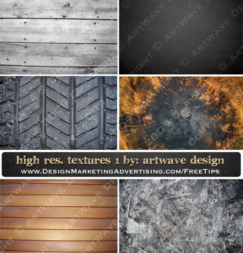 High Resolution Textures Set 1 consists of 6 rough surface textures: Grey Wood, Chalkboard, Tire, Rustic Wood, Dusty Wood & Wood Scrubs. They are free for personal use. Click on image to get to download page…enjoy :o)