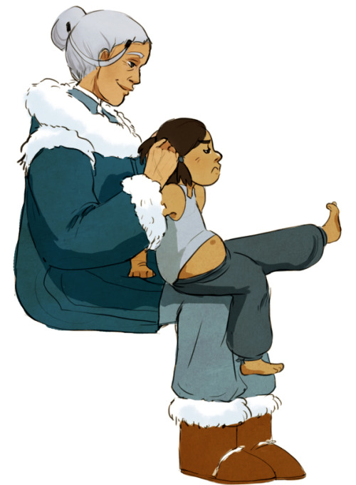 limbicspace:  I imagine that once newly discovered avatar baby Korra was taken into custody Katara was around to formally train her in waterbending, so I keep picturing domestic scenes where Katara fusses with Korra because she misses her kids.  ;_; still not homework.
