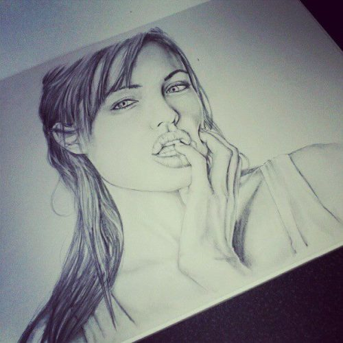 angelina jolie - manual drawing