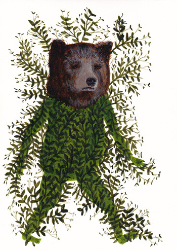 """Fern Bear"" Acrylic ink on paper 2012"
