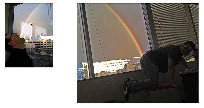 oatmeal:  My friend saw a rainbow outside the window at his work today.  This is how he chose to appreciate its beauty.   ^^ My response to a lot of The Oatmeal posts ^^