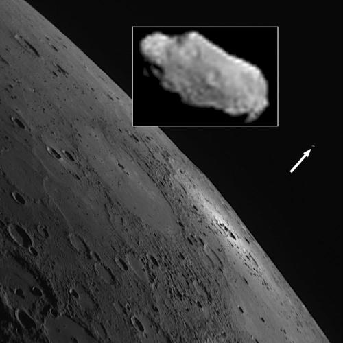 "Mooning Mercury This discovery image provides the first evidence that Mercury has a small natural satellite or moon. Visible as a small bright spot in an image taken yesterday by the Mercury Dual Imaging System (MDIS) Wide Angle Camera (WAC), the moon is approximately 70 meters (230 feet) in diameter and orbits Mercury at a mean distance of 14,300 km (8,890 miles). A proposal to name the moon ""Caduceus,"" after the staff carried by the Roman god Mercury, has been submitted by the MESSENGER team to the International Astronomical Union, the body responsible for assigning names to celestial objects."