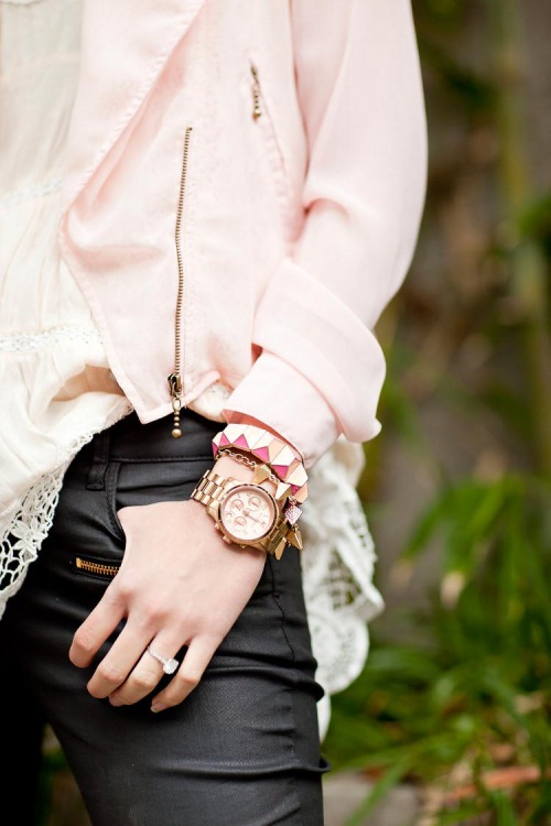 what-do-i-wear:  Jacket- Everly, Pants – Zara, Purse- Hermes Birkin, Jewelry- J.crew & Jewelmint, Watch- Michael Kors runway watch (image: thechrisellefactor)