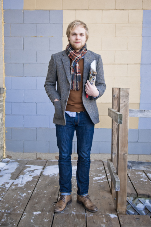 urbanemenswear:  An easy denim + blazer uniform