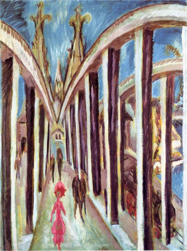 Ernst Ludwig Kirchner, The Rhine Bridge (1914)