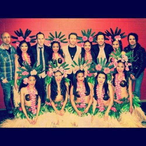 Simple Plan with the Hula dancers at the Juno Awards.