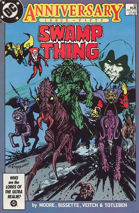 comicbookcovers:  Swamp Thing #50, July 1986, cover by Stephen R. Bissette and John Totleben   Hmm…I guess I forgot about that time Alan Moore wrote a story in which the Phantom Stranger apparently rides a four legged penis.