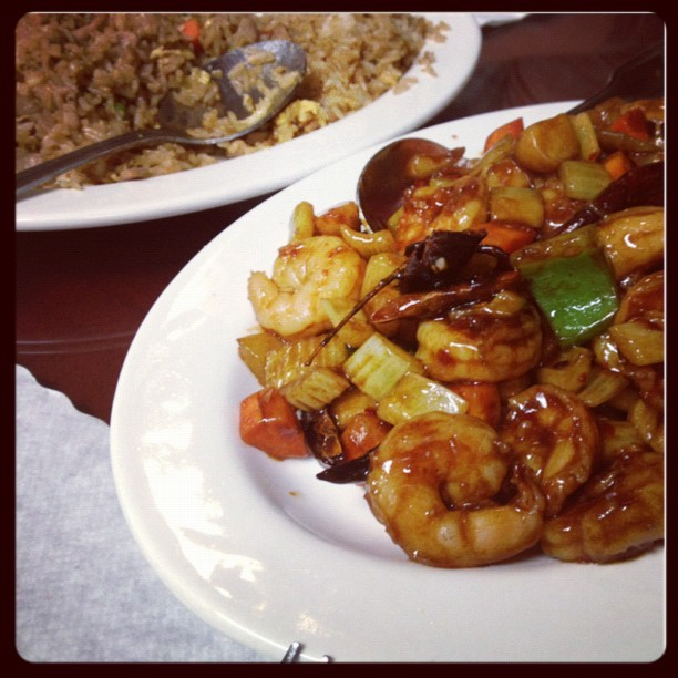 Kung pao prawns for dinner. 👌 (Taken with instagram)
