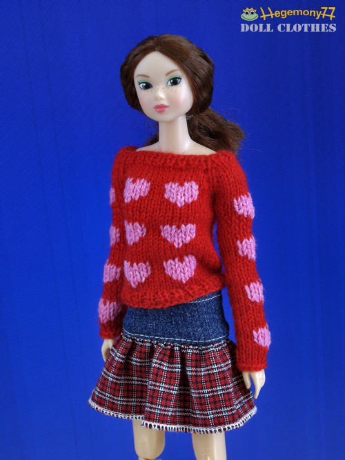 Momoko doll in hand knitted 20 little hearts sweater and skirt