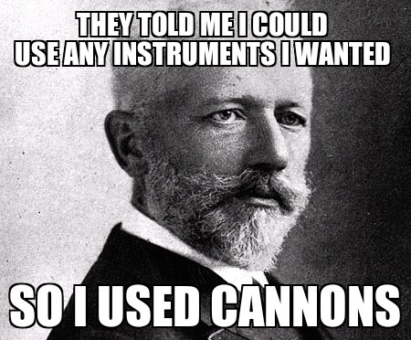 elephantsareweird:  Pyotr Ilyich Tchaikovsky.  What's summer without a rousing version of the 1812 Overture? The Philharmonic performs the Tchaikovsky favorite tonight and tomorrow. Sorry, no actual cannons used inside Avery Fisher Hall. (See what is here.)