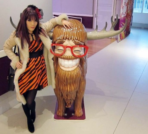 Tiger striped dress! La Carmina at Yotel, NYC theme hotel  ❥ Evil Aliens, Robots & Body Searches?   Yukiro and I did a hilarious travel video…. with Mat Devine of alt rock band *** KILL HANNAH!!! ***  Pls watch & share so we can do more!  http://www.huffingtonpost.com/la-carmina/what-is-the-future-of-tra_b_1379043.html?ref=travel  More photos here: http://www.lacarmina.com/blog/2012/04/travel-video-with-mat-devine-of-kill-hannah-yotel-nyc-space-robot-future-theme-hotel-worlds-coolest-hotels/  (I also wore this dress when I spoke at IFB Conference, at NY Fashion Week).