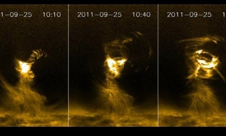 "The gigantic solar tornado that could devour five Earths: For the first time ever, a massive solar tornado was caught on camera, dramatizing the hellish power of the sun. This isn't a garden variety twister: This gargantuan writhing mass of super-scorching gas, many times the width of our planet, extended 125,000 miles from the sun's surface, or about half the distance between the Earth and the moon, and its temperature ranged from 90,000 to 3.6 million degrees Fahrenheit. And while our tornados top out at 150 miles per hour, this monster — referred to by scientists as a ""beast"" — reached an estimated speed of 186,000 miles per hour. Solar Dynamics Laboratory captured the twister on camera in February 2012http://youtu.be/00abKI-lYFQ"
