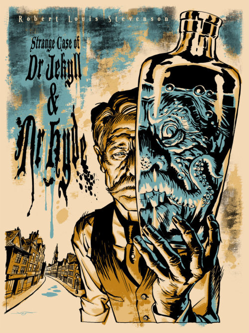 Source: http://jasonedmiston.deviantart.com/art/Dr-Jekyll-and-Mr-Hyde-206197117 I think this cover definitely captures the essence of this story. It is creepy and dark, and also ties in well with the typography. I like the way the characters are rendered, and the limited colour palette. The dark shadows against the otherwise light colours is also very effective.