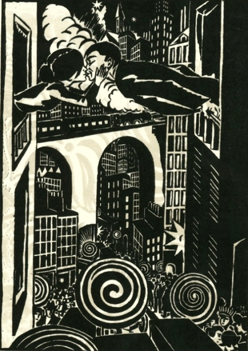 desireexelyda:  Frans Masereel - The Kiss,  1924