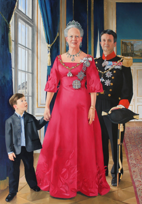 Painting of Queen Margrethe II with her son and grandson. (The future kings of Denmark)