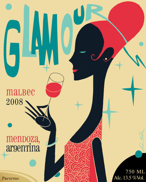 "Source: http://a-mar-illo.deviantart.com/art/GLAMOUR-188213295 This wine label seems very consistent in its style. The way the woman is rendered seems to adhere to the title and the whole idea of the label (the ""glamorous"" feel). The fonts are appropriate and work with the piece. The colours are great and contrast well with the background."