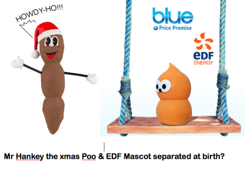 Mr Hankey the Christmas Poo & EDF Energy mascot, separated at birth?