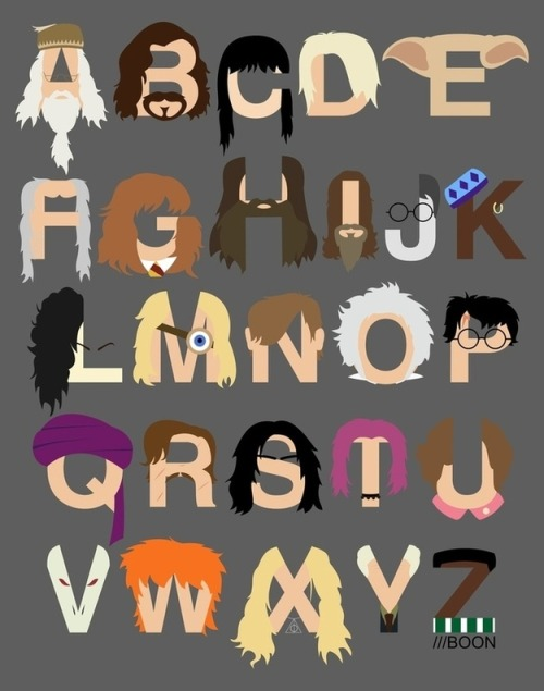 (via The Harry Potter Alphabet) Depicted are: Albus Dumbledore, Sirius Black, Cho Chang, Draco Malfoy, Elf (Dobby the House Elf), Argus Filch, Hermione Granger, Hagrid, Igor Karkaroff, James Potter, Kingsley Shacklebolt, Bellatrix Lestrange, Mad-Eye Moody, Neville Longbottom, Mr. Ollivander, Harry Potter, Quirinus Quirrell, Remus Lupin, Severus Snape, Nymphadora Tonks, Dolores Umbridge, Lord Voldemort, Ron Weasley, Xenophilius Lovegood, Yaxley, Blaise Zabini