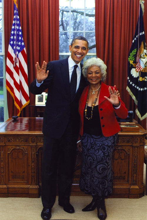 dcwomenkickingass:  electricchips:  Live long and prosper, Barack  I can't think of a better picture to post today. Here is the President of the United States and Nichelle Nichols who played Uhura on Star Trek: TOS. I wrote about Uhura here.