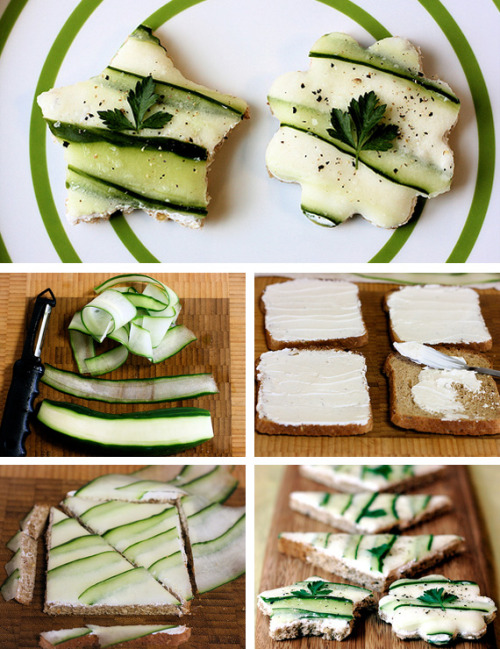 Cucumber Tea SandwichesIngredientsBread (Dempsters BodyWise bread has only 45 calories per slice)CucumbersLight Cream CheeseSalt & PepperMint LeavesDirections1. Shave long strips of cucumber with a regular vegetable peeler. Pat with a paper towel if the cucumber seems too wet.2. Spread some light cream cheese on to the bread.3. Lay out cucumber in a pretty pattern, slightly overlapping. If you line up the cucumbers to one side of the bread, you'll have long enough strips left over for a second sandwich.4. Cut off crusts and cut to desired shape. Use a cookie or biscuit cutter for non-square/triangular sandwiches. Sprinkle with salt and fresh pepper. Garnish with parsley, mint, or watercress.Calories: 75 per sandwichstep-by-step picture guide here