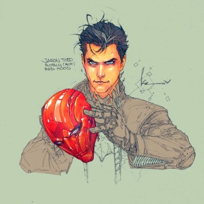 thegoshdarnrobin:  Jason Todd: Red Hood. Sketch by Kenneth Rocafort.