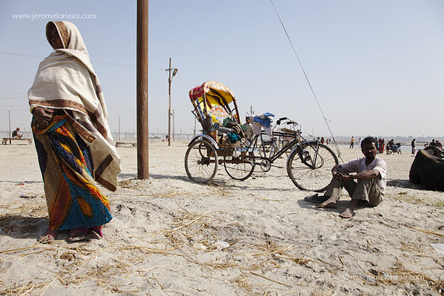 Indian woman and rickshaw driver at Sangam, Allahabad, India You may also want to see my story and slideshow about the Old Delhi