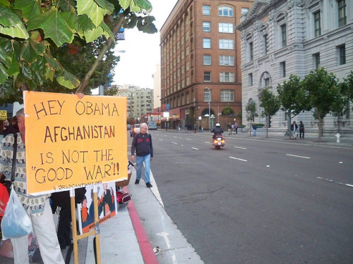 occupyallstreets:  Afghanistan War Is Now More Unpopular Than Iraq War According to a New York Times poll, 69 percent of Americans think the U.S. shouldn't be waging the Afghanistan war. That reinforces the findings of a recent Pew poll, in which nearly six-in-ten respondentssupported bringing U.S. troops home ASAP. It's a major hemorrhage of support. Just a few weeks ago, the war was merely unpopular, with 54 percent saying it wasn't worth fighting. The new low represents the crossing of a certain psychological and cultural threshold. It means the Afghanistan war is now at least as unpopular as the Iraq war was at the height of public ire. In fact, by some measures, the war to beat the Taliban — the guys who gave safe harbor to the 9/11 terrorists — is now more unpopular than the one to get rid of Saddam and his alleged stockpiles of WMDs. Take a look at what Pollingreport.com tallies for the Iraq war. During Iraq's darkest days, in 2006, CNN's poll registered opposition to the war in the high 50s or low to mid 60s. It took until the week George W. Bush announced the surge, in January 2007, for opposition to reach 67 percent. At no time between 2006 and 2011 did the poll register 69 percent opposition. Read More