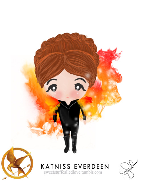 My fan art. Chibi Katniss Everdeen, The Girl on Fire. :3 The Hunger Games