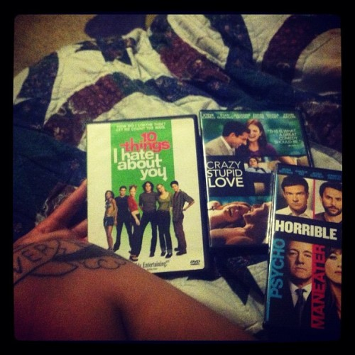 What my night will consist of till I 💤 #tattoo #kneecap #horriblebosses #10thingsihateaboutyou #crazystupidlove (Taken with instagram)