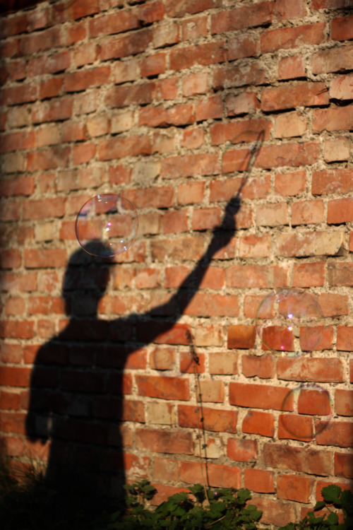 Shadow girl lets the bubbles fly