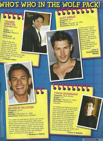 "new\old scan with Alex Meraz ""Who's who in the wolf pack"" by POP STAR magazine"