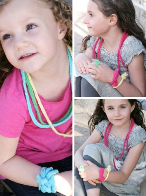 DIY Recycled Tees into Jewelry. Make kids necklaces, headbands and bracelet from t-shirts. Tutorial by Paging Supermom at Raising Arizona Kids here.