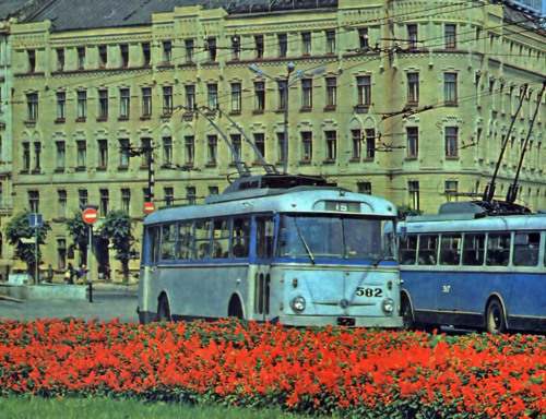 Skoda 9Tr in Riga, Latvia (no date) A sweet Trolleybus design. Still active in Ukraine and probably some other places.