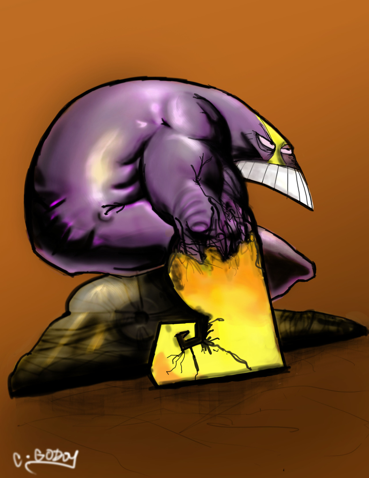 Sam Kieths.. The Maxx.    Really enjoyed painting this one…. I'm getting in the groove. Groooooovveee…