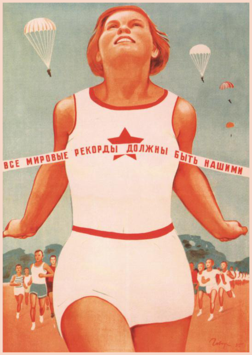 Poster with cold war propaganda poster from Soviet Union. http://www.zazzle.com/cardland