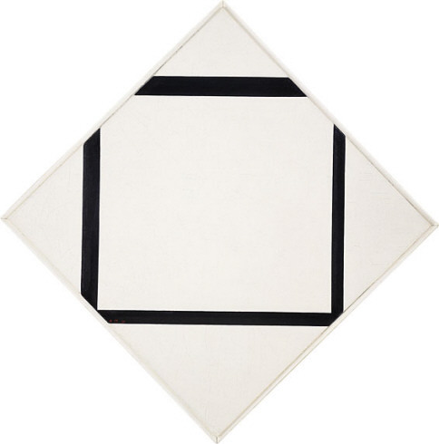 Composition No. 1:  Lozenge with Four Lines Piet Mondrian 1930. Oil on canvas, 29 5/8 x 29 5/8 inches (75.2 x 75.2 cm);vertical axis: 41 3/8 inches (105 cm).Solomon R. Guggenheim Museum, New York,