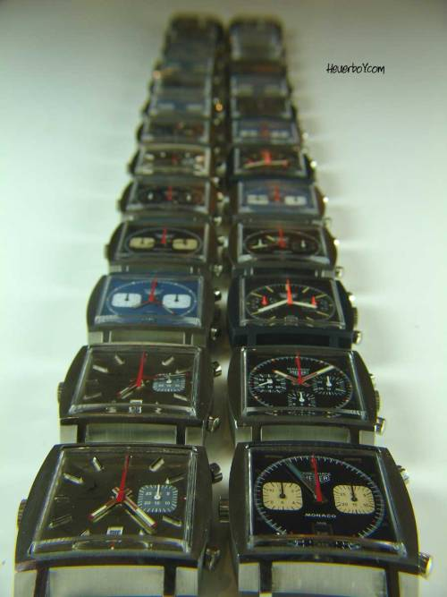 "Today's vintage Heuer photo comes to us from Nic Green, owner / operator of HeuerBoy.com.  Nic calls this photo ""Monaco Road"" or ""The A8"" (the motorway that runs along the French Riviera into Monaco).   See more group photos of vintage Monacos here."