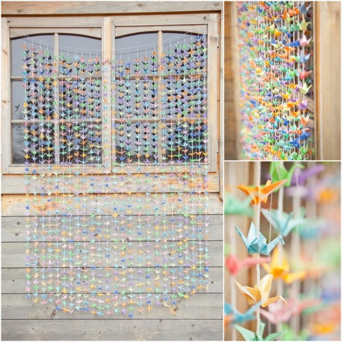 truebluemeandyou:  DIY 1000 Paper Cranes Backdrop. When I say everyone can do the majority of projects I post I really mean it. To have the patience to do this one is another matter! This was too cool not to post and was done by a bride for a boho wedding backdrop. Tutorial at The Boho Wedding Blog here. The bride said in the comments:  The beautiful story of 1000 paper cranes includes the thought that if a bride folds them for her wedding, she will carry this patience to her marriage and bring with it happiness, luck and prosperity.