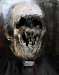 blackpaint20:  A haunting devilry for sure: A priest by Mario Ucci