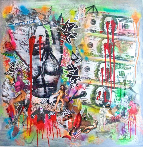 The Price Of Getting Paid…By Magdalena Marcenaro Mixed Media Mounted on Wood Panel 36'x37'