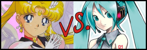 Who wins? Click through to have your say! (via Battle Arena Otaku Fight! Fight!: Sailor Moon vs. Hatsune Miku, Vampire Hunter D vs. Golgo 13)