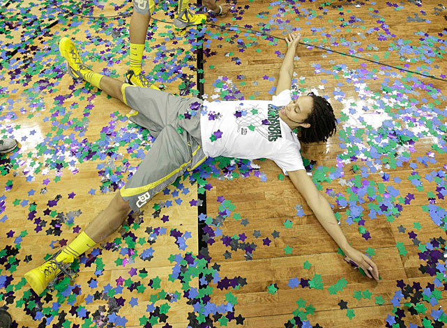 Baylor center Brittney Griner celebrates in confetti after defeating Notre Dame 80-61 at the Women's Final Four championship game in Denver. Griner scored 26 points and grabbed 13 rebounds as the Lady Bears completed the first 40-0 season in college basketball history. (AP Photo/Eric Gay) DEITSCH: Griner, Baylor complete 40-0 season with victory over Notre DameKILLION: Griner shines bright, faces stirring comment