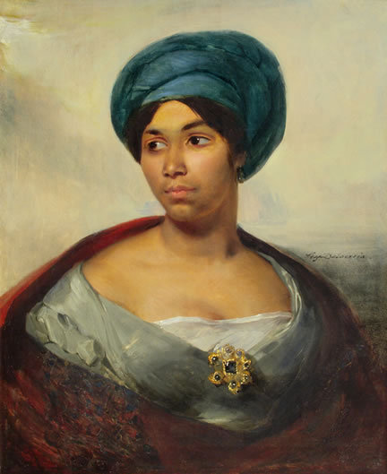 Portrait of a Woman in a Blue Turban by Eugene Delacroix, c. 1827