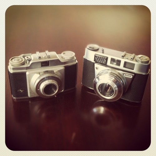 My two new friends. Agfa Silette Pronto. Kodak Retinette 1B. (Taken with instagram)