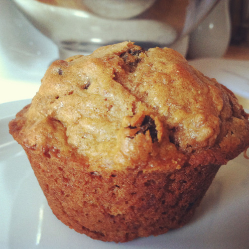 Raisin Bran Breakfast Muffins ingredients:  1/4 cup vegetable oil, plus more for tin 11/2 cups raisin bran cereal 3/4 cup milk 1/2 cup whole-wheat flour (spooned and leveled) 1/2 cup all-purpose flour, (spooned and leveled) 2 teaspoons baking powder 1/2 teaspoon ground cinnamon 1/4 teaspoon salt 1 large egg, lightly beaten 1/4 cup packed dark-brown sugar directions: 1 Preheat oven to 400. Lightly oil a 6-cup standard muffin tin, or use paper liners. In a medium bowl, combine cereal and milk; let stand until softened, about 5 minutes. In a small bowl, whisk together flours, baking powder, cinnamon, and salt. 2 Stir oil, egg, and sugar into cereal mixture. Fold in flour mixture. Divide batter among cups (see left). Bake until a toothpick inserted in the center of a muffin comes out clean, 20 to 25 minutes. Cool in tin 5 minutes, then turn out onto a wire rack; let cool completely, or serve warm. Store up to 5 days at room temperature in a resealable plastic bag. I didn't have raisin bran, but I had a Newman's Own Cinnamon Bran cereal, and then I just added raisins. Worked great! These are pretty low in sugar, and have a lot of healthy ingredients. Perfect for a quick breakfast.