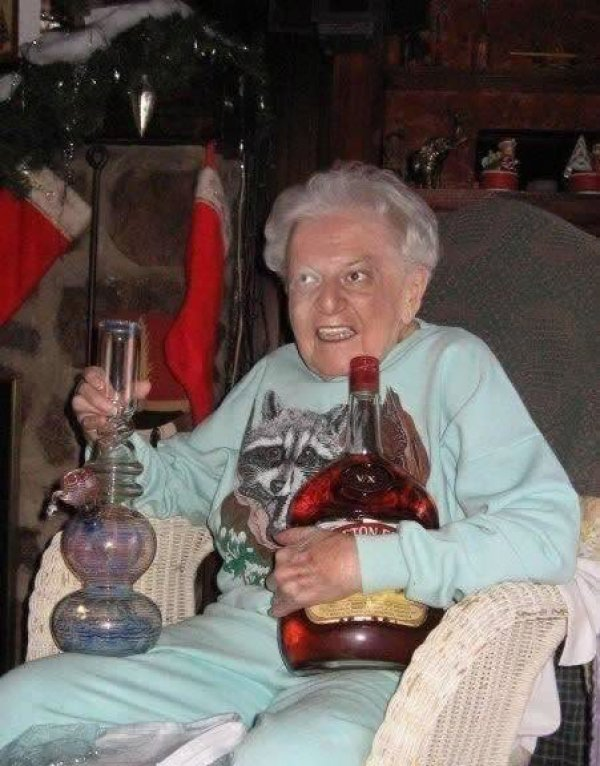 collegehumor:   Old Lady Has Booze and a Bong   She's taking a shot for every year she's been alive