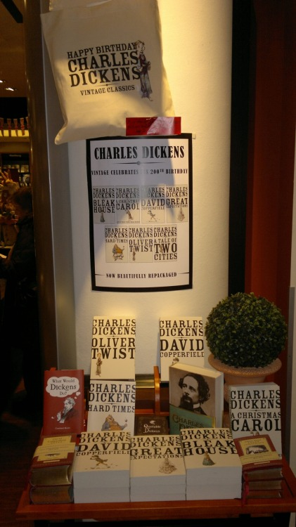 vintageanchor:  Great bookstore display of the new Vintage editions of Charles Dickens's books – and a bag the bookstore created – in Germany.    O Dickens, my main man.