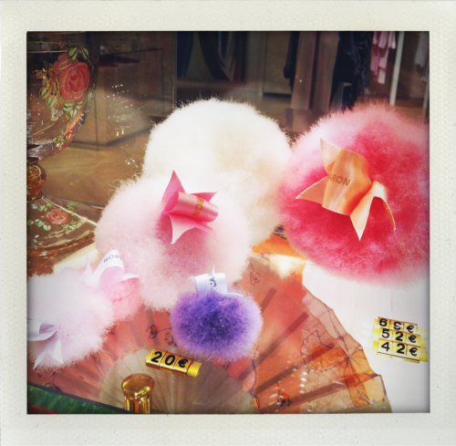 kate-young:  Caron puffs at Le Bon marche  These Caron powder puffs look like Tribbles ;)
