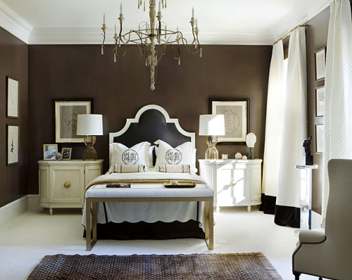 Love the dark walls in this crisp bedroom. The white carpet and bedding give fresh contrast. A great example of how dark walls can work in a lighter room.  Follow CollegeGuyDesign if you like things like this showing up on your dash! georgianadesign:  Beth Webb Interiors