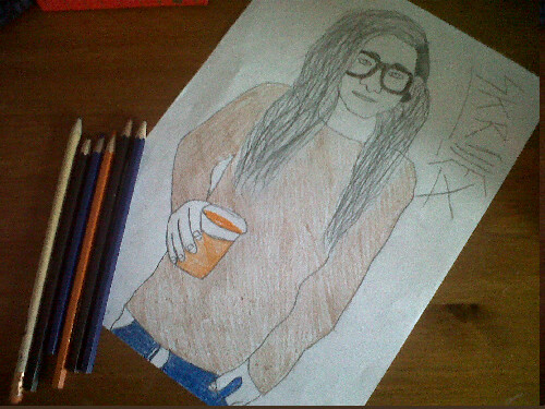 m3gatr0nmat3:  Simon's drawing of Skrillex;D  My drawing of Skrilly<3